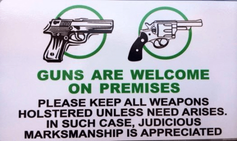 Guns welcome sign