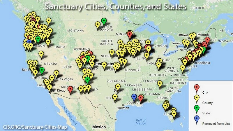 Image result for sanctuary cites illegal aliens