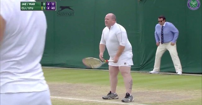 Kim Clijsters makes a male fan wear white skirt during Wimbledon 2017