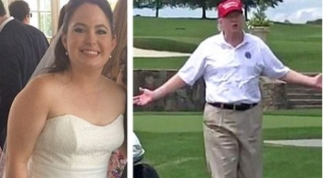 donald trump crashed wedding bedminster gold club bride caroline hoffman