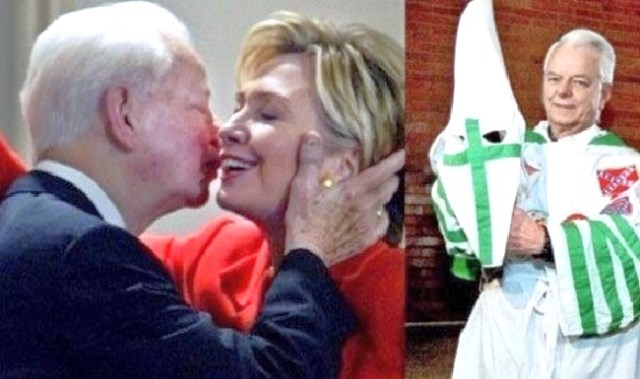 kkk leader robert byrd mentor hillary clinton kiss