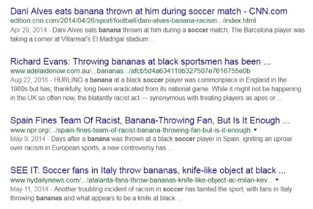 soccer fans throw bananas at black football players in europe