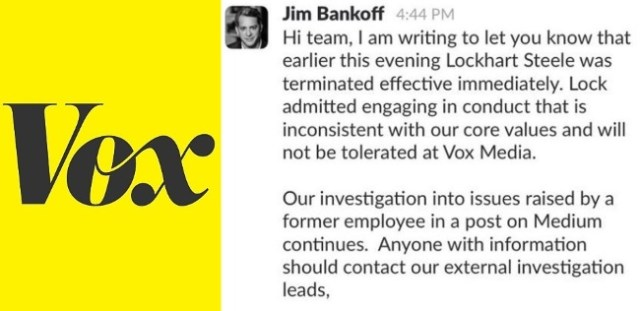 vox media fires lockhart steele sexual harassment