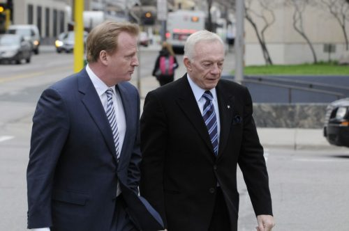 NFL Commissioner Roger Goodell left and Dallas Cowboys owner Jerry Jones