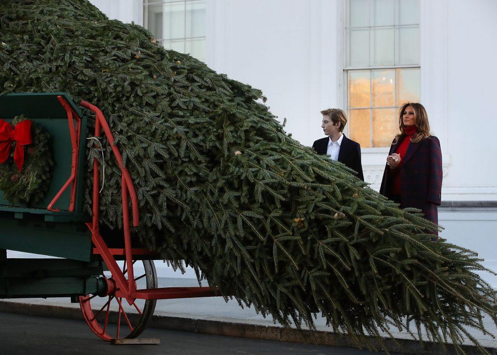 Photos Of Melania Trump And Barron Receiving White House