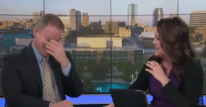 Anchors lose it during live broadcast, 'titter' explodes into uncontrollable, contagious laughter