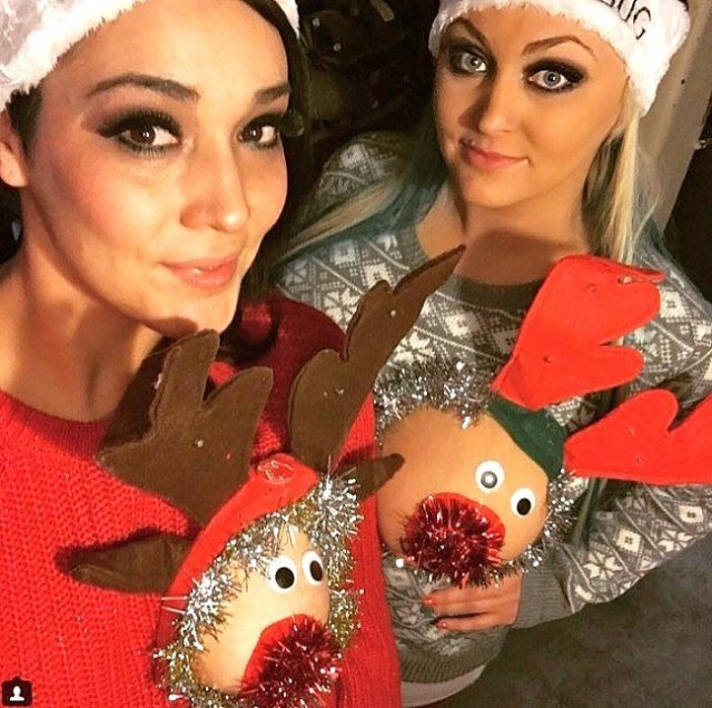ugly christmas sweater breast reindeer