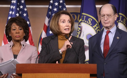 WASHINGTON, DC - JANUARY 21: House Minority Leader Nancy Pelosi (D-CA), C, speaks as U.S. Rep. Maxine Waters (D-CA) , L, and Rep. Brad Sherman (D-CA) stand at a news conference criticizing President Donald Trump's Wall Street policies on Capitol Hill on February 6, 2017 in Washington, D.C. President Trump is making his first visit to U.S. Central Command and U.S. Special Operations Command today at MacDill Air Force Base in Tampa, Florida. (Photo by Mario Tama/Getty Images)