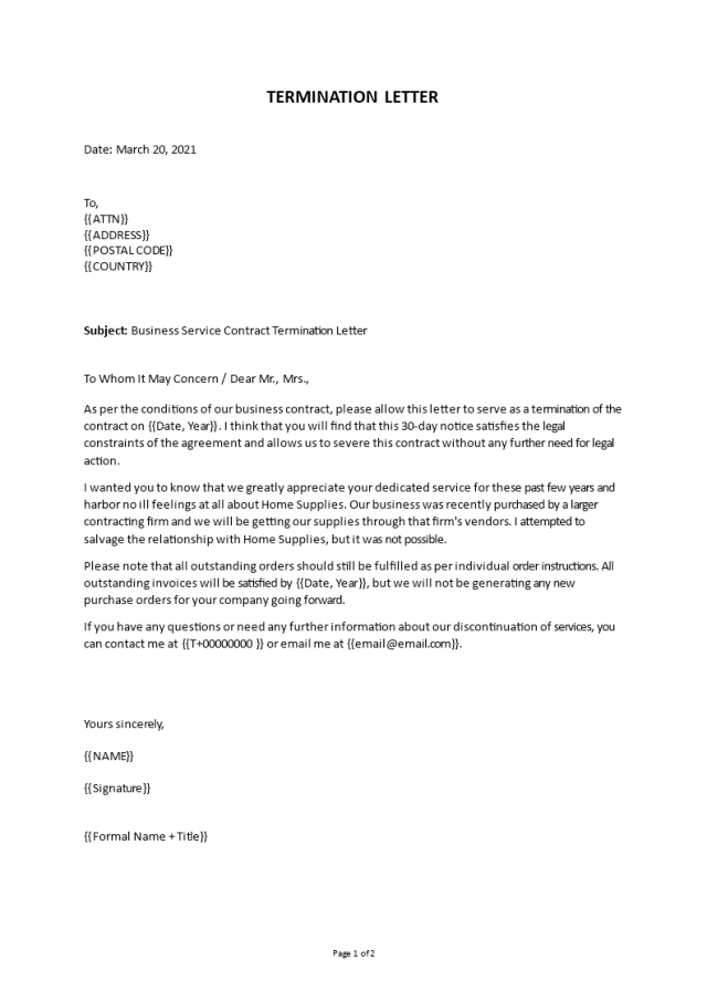 Business service contract termination letter