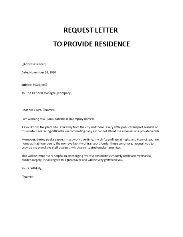 Request letter to company to provide accommodation