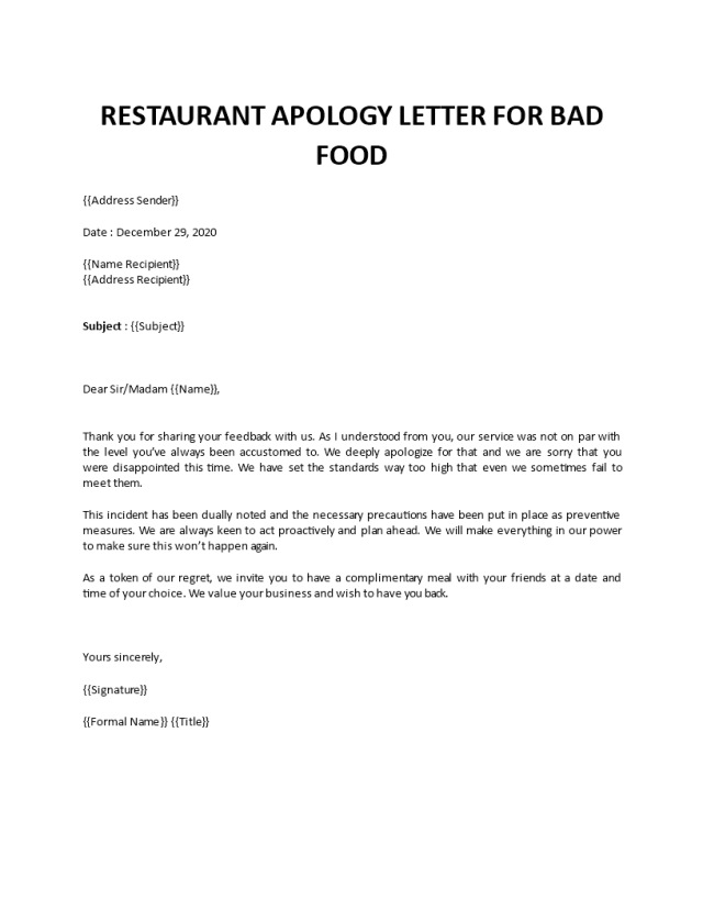 Apology letter for bad food