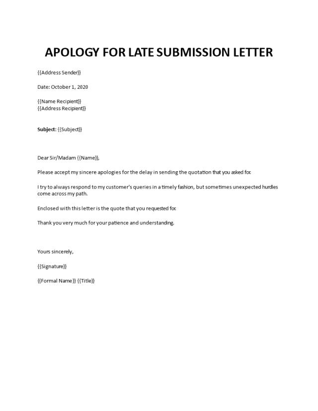 Regret letter for not sending quotation