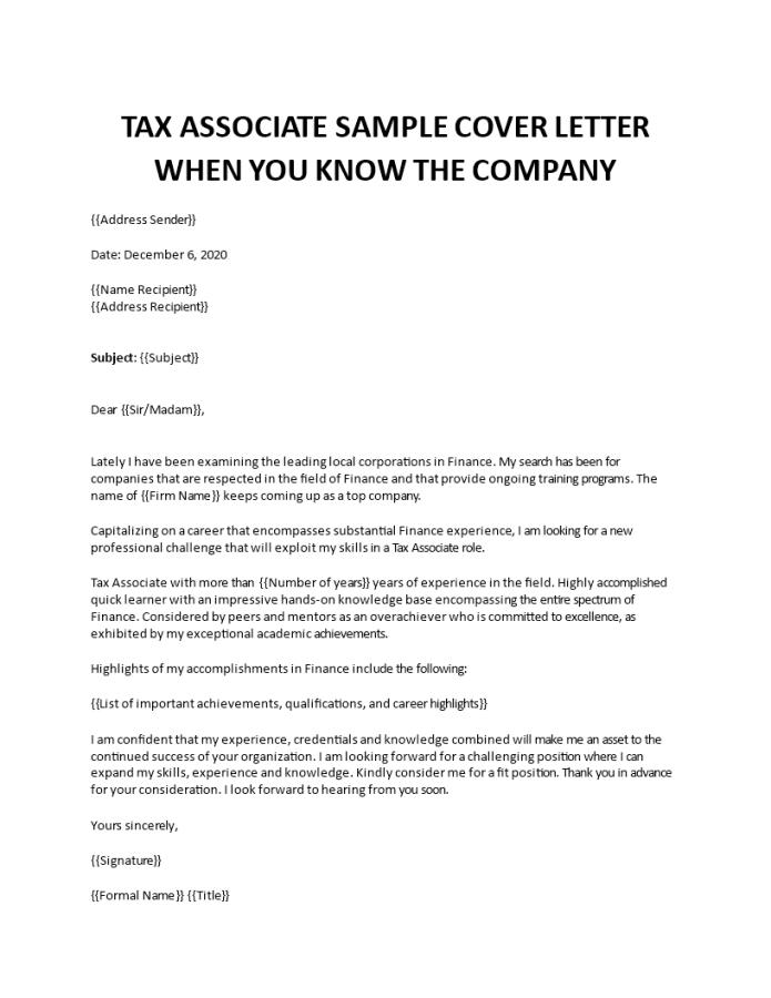 Tax Associate Cover Letter