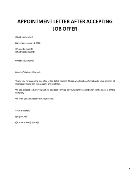 appointment letter after accepting job offer
