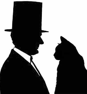 Silhouette of President Lincoln with cat
