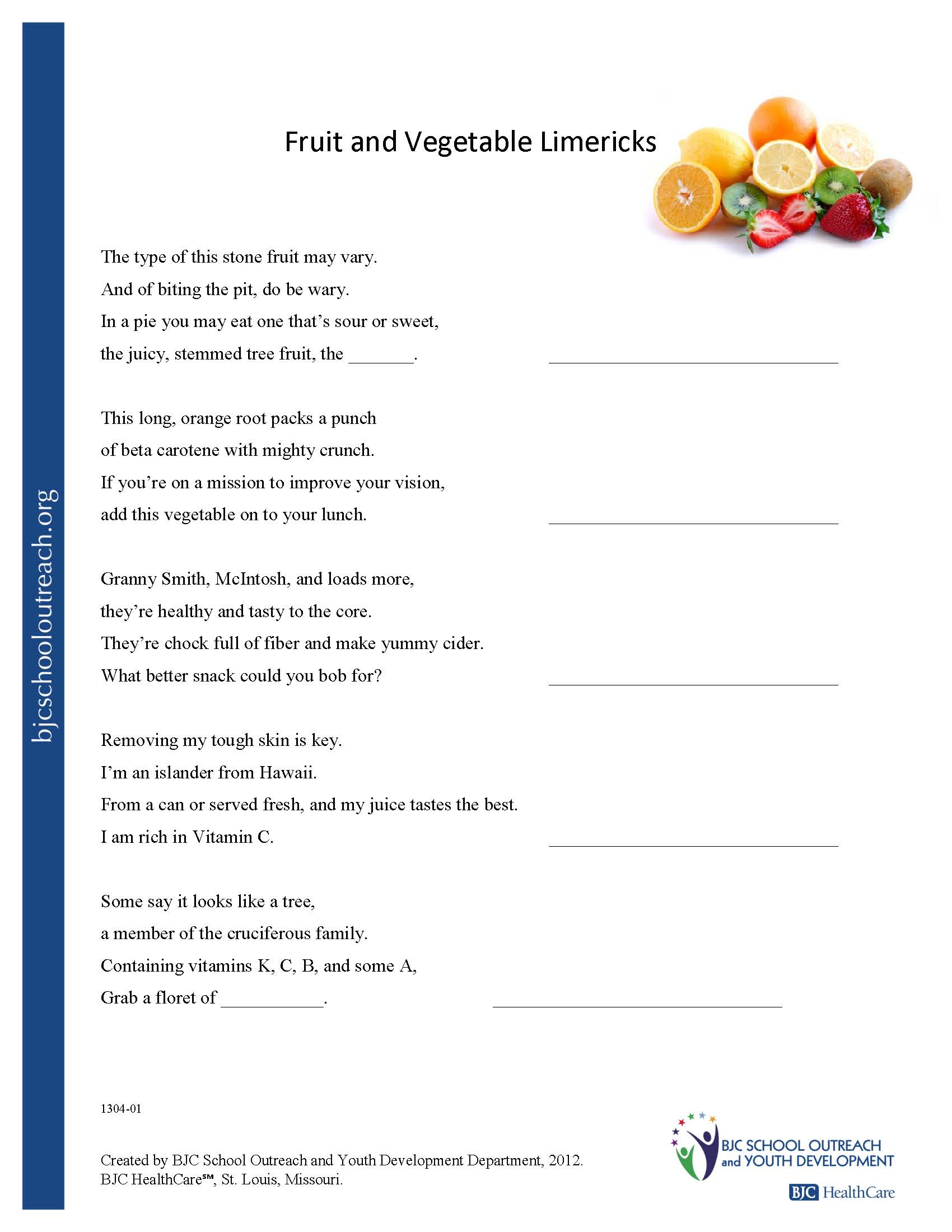Vegetable Food Group Worksheet 1st Grade Hs