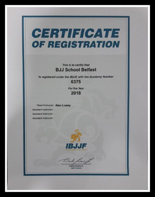 BJJ School Belfast certified IBJJF School