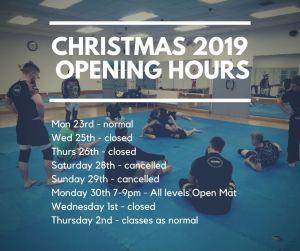 BJJ School Christmas 2019 Opening Hours