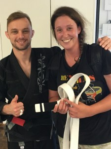 Sarah Coatney First White Belt Stripe in BJJ