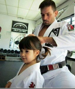 Demian Maia Fixing Little Girl's Hair For Jiu Jitsu Class