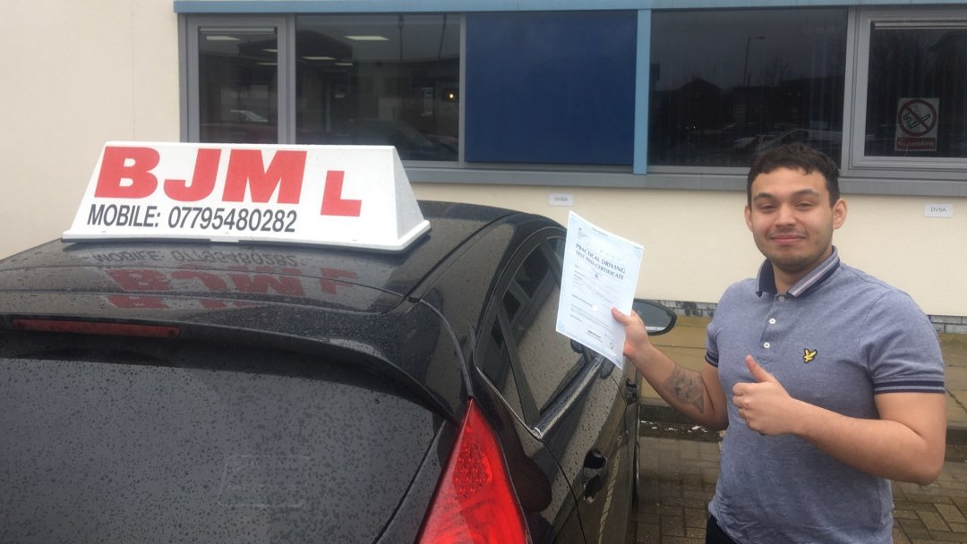 Congratulations Micheal BJM School of Motoring Drivings Driving Test Pass after lessons with Baz Call: 07795480282
