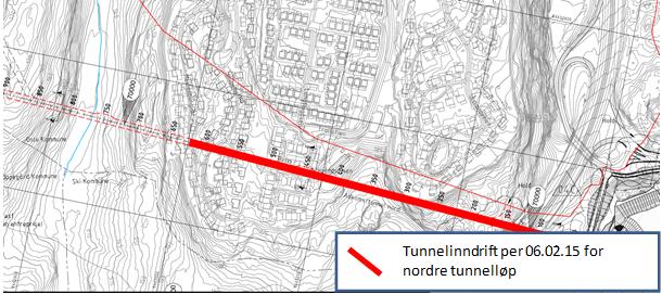 På nederste illustrasjonen ser vi hvor langt det er sprengt ut i det nordre løpet. Vi passerer straks under Meklenborglia. Det betyr at rystelser og støy fra tunneldrivingen vil bli svakere og svakere i løpet av de nærmeste ukene for dem som bor her. (illustrasjon: Jernbaneverket)