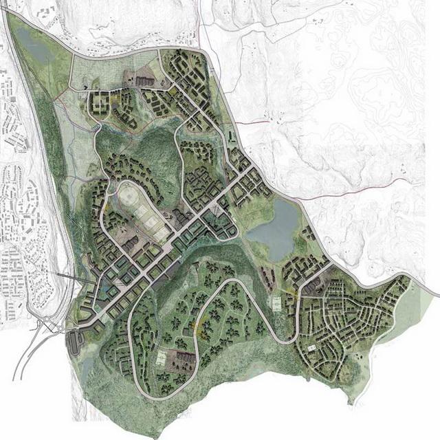 Illustrasjonsplan over området etter utbygging (høring2). (Illustrasjon: Plan- og bygningsetaten)
