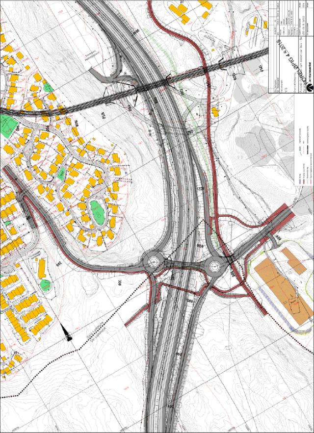 Foreløpig utkast til teknisk plan forE6-kryss Åsland. (kilde: Planprogram, Jernbaneverket)