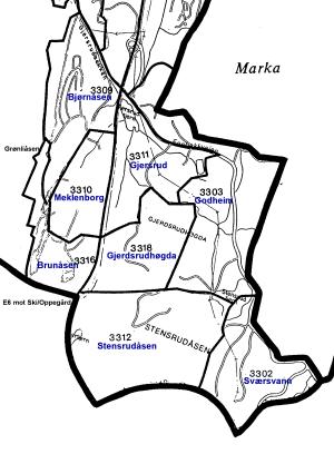 Grunnkretser i delbydel Bjørndal (Illustrasjon: Sven Brun, basert på kart fra Oslo kommune)