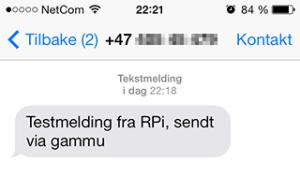 Suksess! Første SMS kom fram.