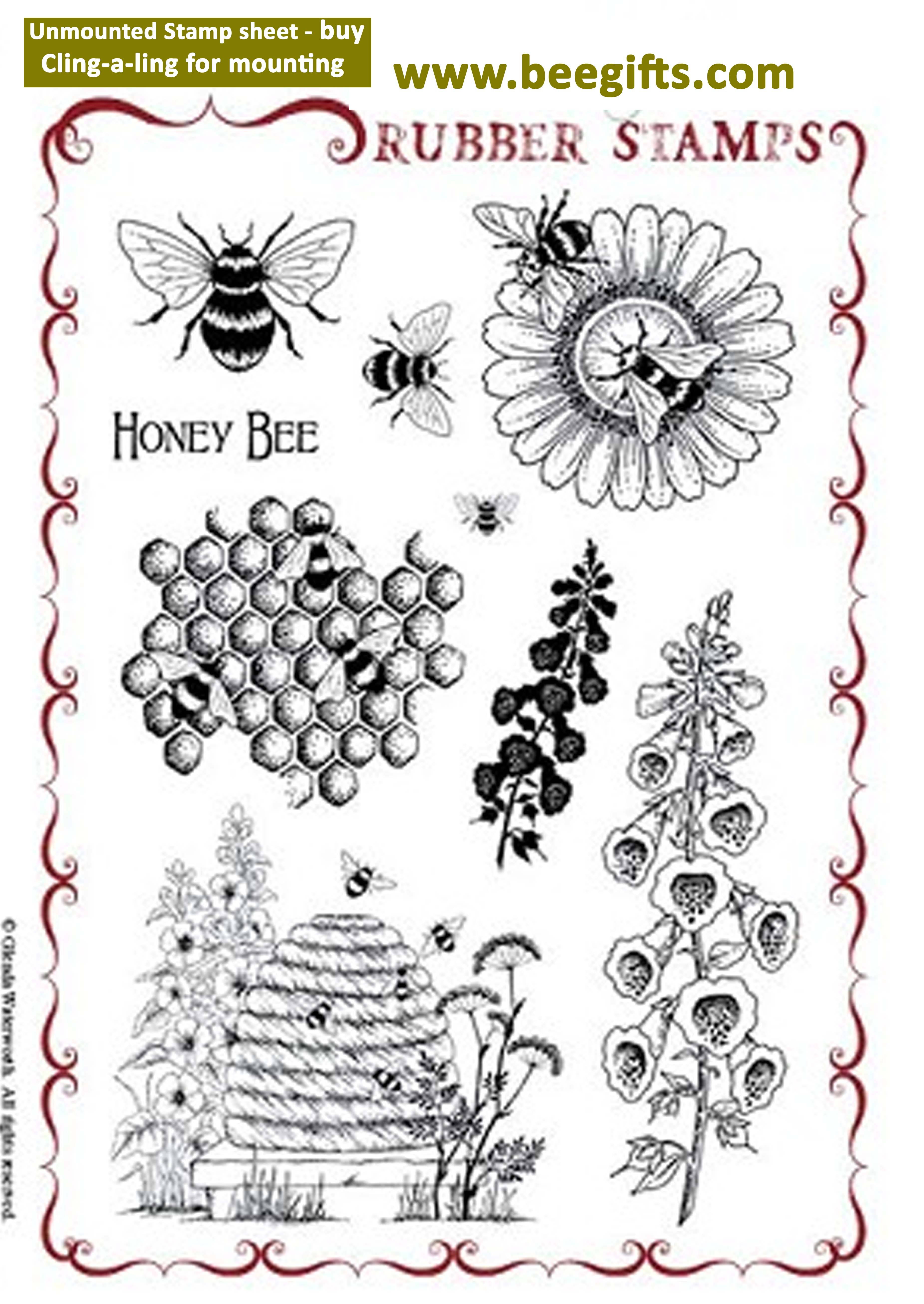 Honey Bee Rubber Stamps A5 Page With Cling A Ling