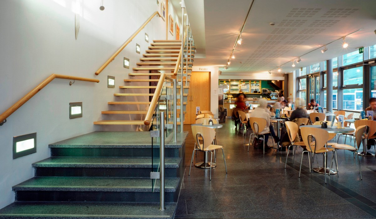MER INT 03-lower foyer-cafe & hanging stairs
