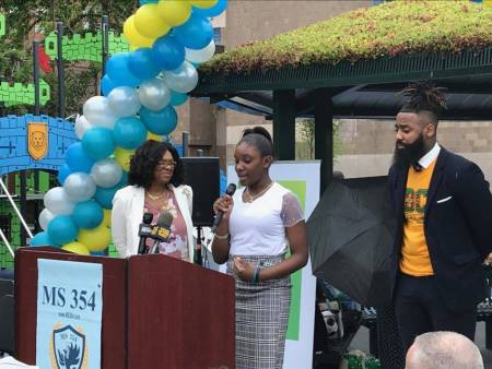 Principal Monique Campbell, Student Reia Mason, and Principal Antoine Lewis gave opening remarks at the ceremony