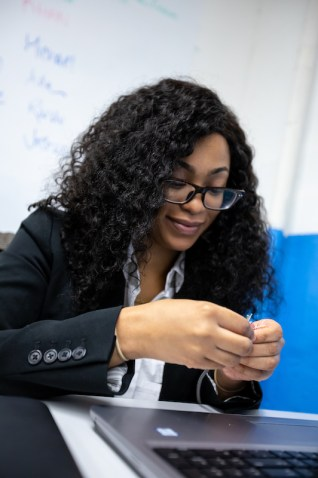 Former NPower student Daney Forbes working on a project in class. Photo: Courtesy of NPower, Inc.