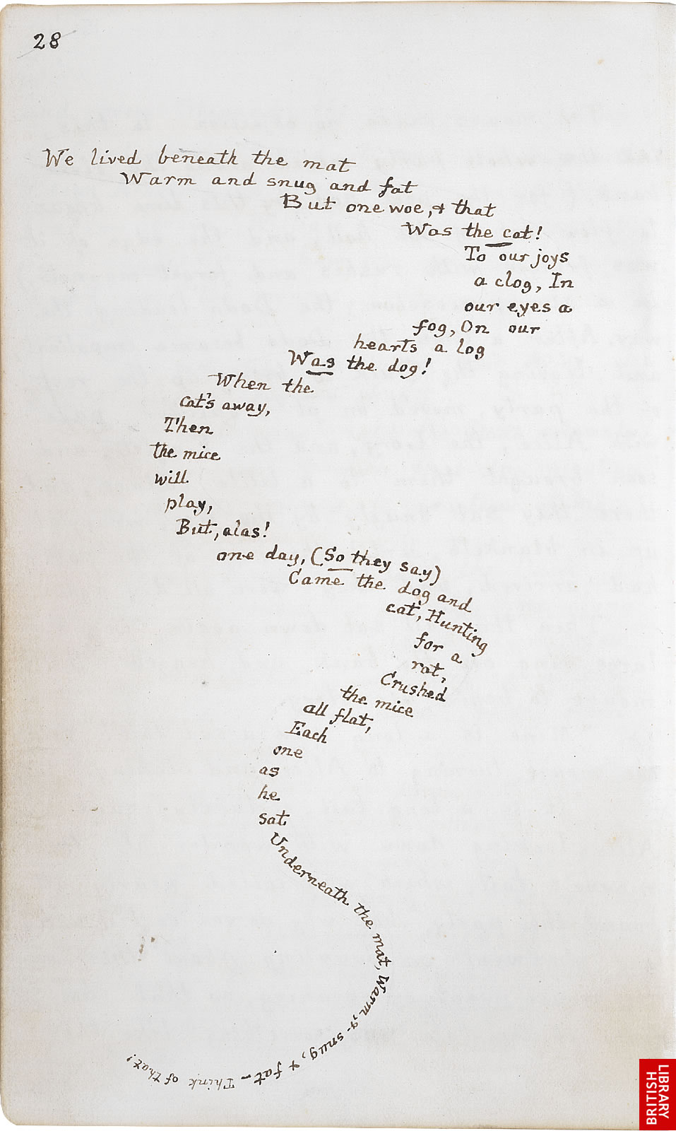 A page from the original handwritten and illustrated manuscript of Alice's Adventures Under Ground by Lewis Carroll.