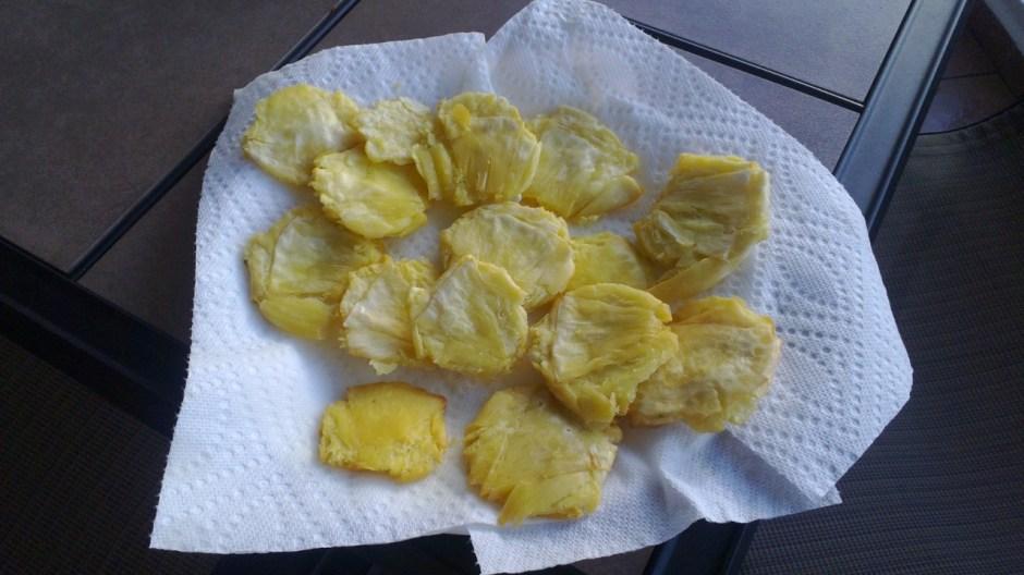 tostones de pana made from breadfruit
