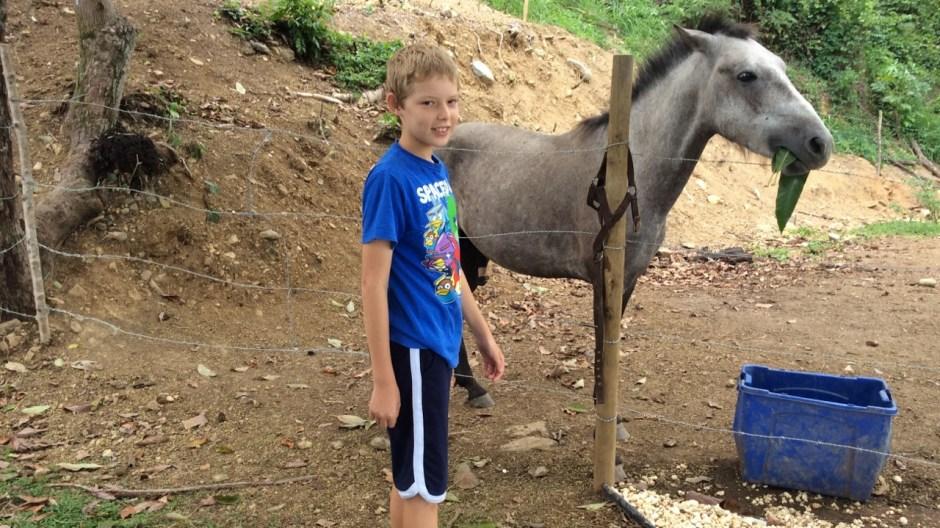 """desmond and """"dude"""" (a horse) atop the hills of rincón"""