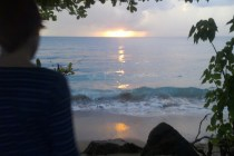waylon watching the sunset in Rincon Puerto Rico