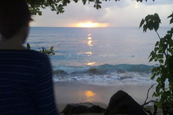 waylon watching the sunset in Rincon Puerto Rico