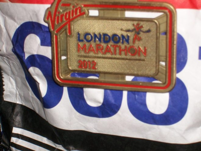 Photo of my London Marathon medal from 2012