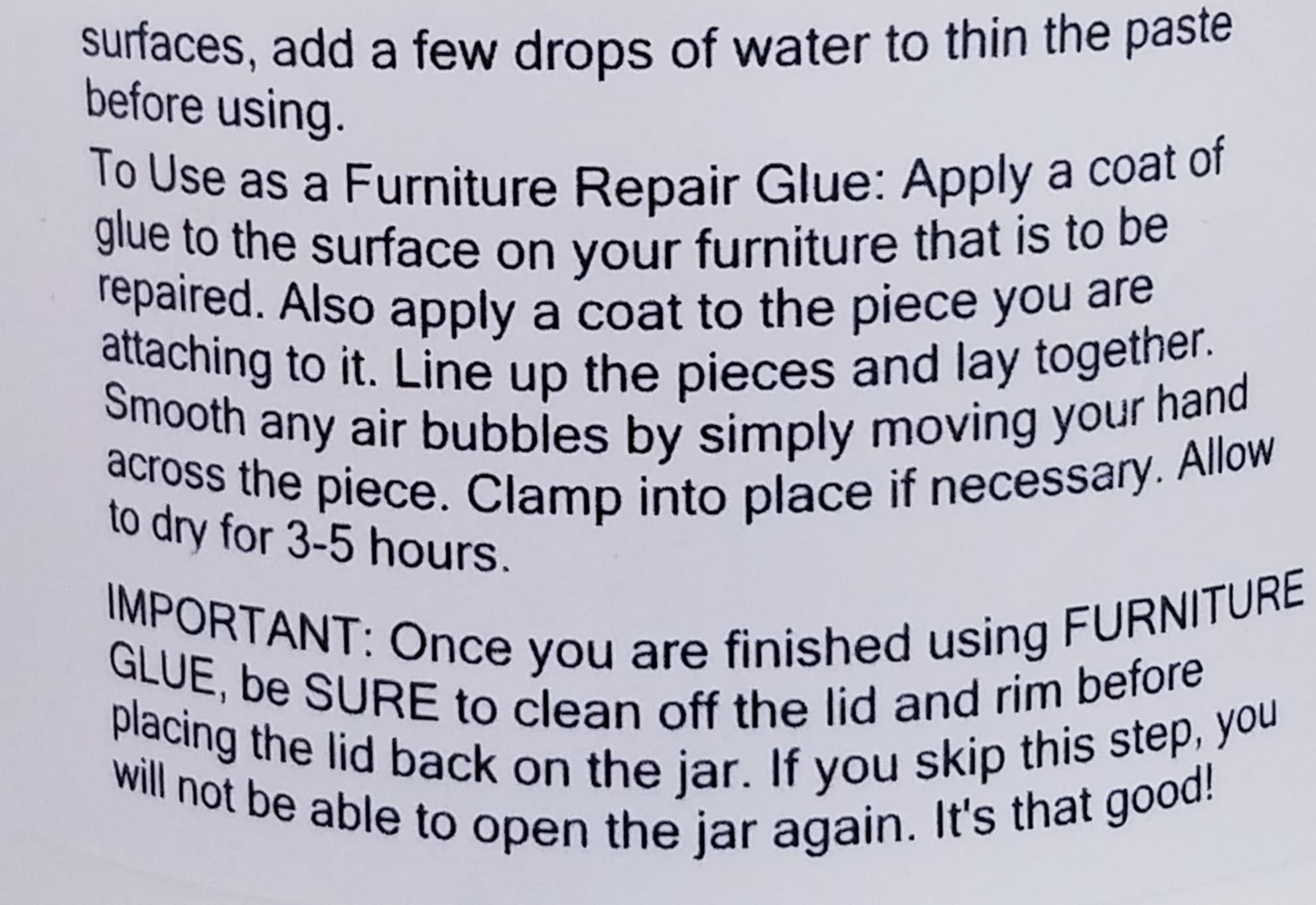 furniture glue instructions