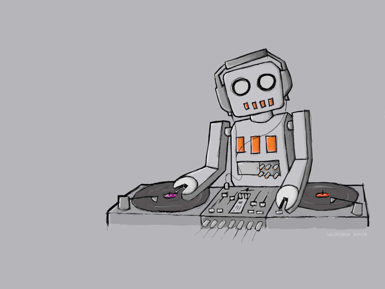 Robot on turntables