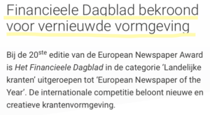 Financieele Dagblad bekroond voor vernieuwde vormgeving