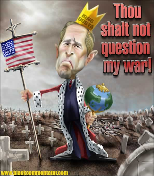 Bush and Iraq war, cartoon