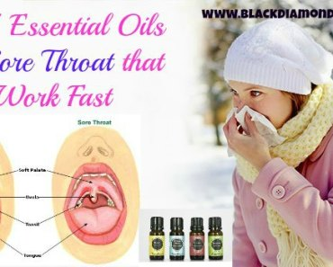 Top 7 Essential Oil for Sore Throat that Work Fast Share A sore throat is pain in the throat characterized by irritation, which gets worse during the normal process of swallowing. A person has persistent pain in throat during this condition and one cannot eat a single thing properly. Essential oil for sore throat are amazing treatment for this problem. They serve as a natural medication to this irritation which is free from any side effects.