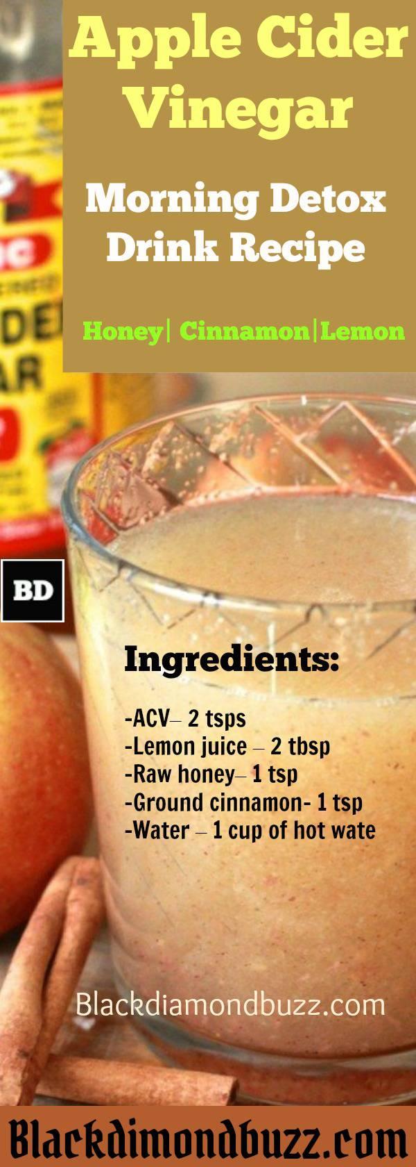 Ricetta della bevanda della disintossicazione di aceto di sidro della mela; Miele, cannella e limone, per bruciare i grassi - Dink questa mattina presto e prima di dormire.