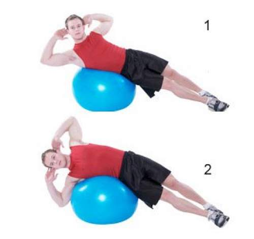 Stability Ball Oblique Crunch - Obliques Exercises To Get Rid of Love Handles,  Muffin Top, and Strengthen Oblique Muscles