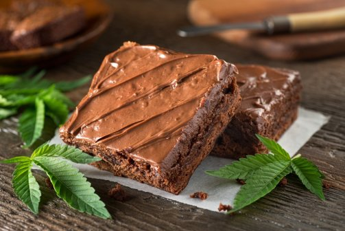 chocolates and marijuana leaves