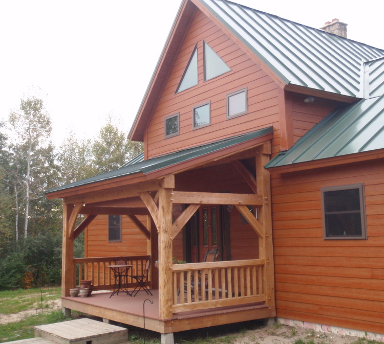 Custom Timber Frame Entry Porch Construction Turner Maine