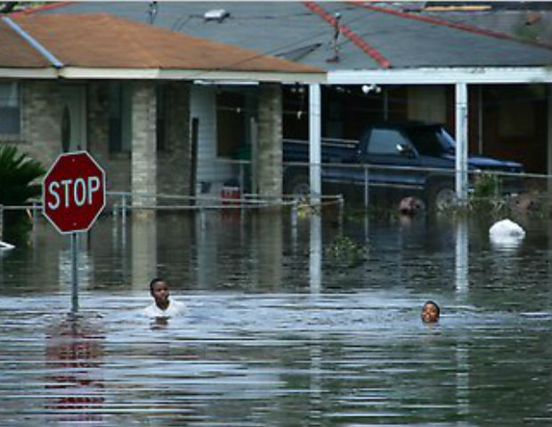 The streets of New Orleans flooded after Hurricane Katrina.